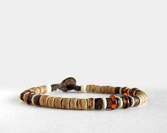 Mens beaded bracelet, coco, brown, baltic amber bracelet, bone, buttoned clasp, Safari