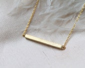 Simple Delicate Gold Bar necklace. Minimalist dainty necklace. Bridesmaid Gift, Everyday