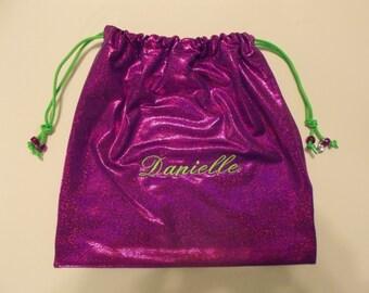 Danielle Personalized GYMNASTICS GRIP BAG w/ crystal charm~magenta purple sparkle w/ lime ~match 2 ur leotard Gymnast Birthday gift present