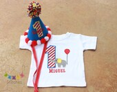 Circus Birthday Shirt AND Party Hat Set -  PERSONALIZED