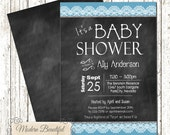 Chic lace baby shower invitation - chalkboard invitation - boys baby shower invitation - shabby - blue - lace - typography - baby boy