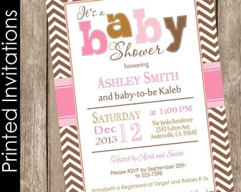 Printed Modern Girl Fall baby shower invitation, brown, pink, girl autumn baby shower invitation, typography (FREE ENVELOPES)