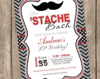 Mustache birthday invitation, stache 1st birthday invitation, boy mustache birthday invitation, chevron birthday invite, red and black