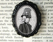 lady duck in hat brooch - victorian/edwardian style portrait - resin cameo