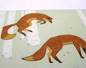 Wrong Focus Foxes Plaque Mounted Giclee Print Illustration