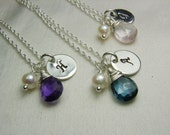 Personalized Necklace Initial Necklace Bridesmaid Gift Monogram Necklace Bridesmaid Necklace Birthstone Necklace Gift for Mothers Jewelry