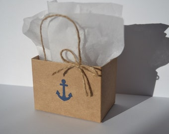 Nautical Party favor bags blue anchor with rope handles
