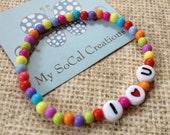 Beaded Stretch Bracelet-Personalized Bracelet-I LOVE YOU-Any Word-Any Phrase-Any Name-Small Bubblegum Beads