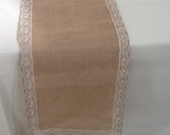 Burlap Table Runner with Ivory Lace, Ready to SHIP, Wedding, Party, Home Decor