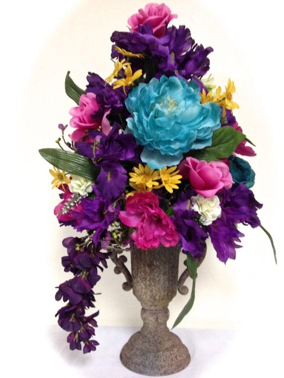 Bright tall silk floral arrangement centerpiece purple