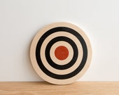 Target Circle Art Block - White/Black/Red - archery target, bull's eye, colorway #18