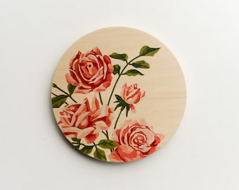 Paint by Number Large Circle Art Block 'Pink Roses' - vintage art, florals, pink roses