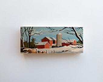 "Paint by Number Large 6"" x 14"" Art Block 'Red Barn' - farm scene, winter, vintage landscape"