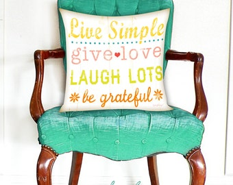 Inspirational Pillow -Live Simple -Home Decor -Full Inserted Pillow