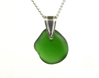 Green Sea Glass Pendant Necklace ISABELLA