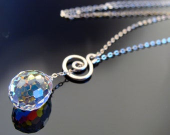 Crystal Drop Sterling Silver Lariat Necklace