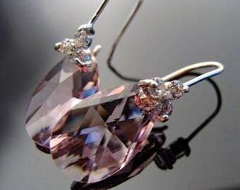 Pink Swarovski Crystal Drop Sterling Silver Earrings