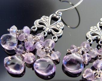 Amethyst Chandeliers 925 Sterling Silver Earrings