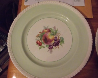 Two Vintage Johnson Brothers Round Plates - Old English - showing fruit - Scalloped edge