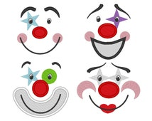 Adorable clown faces for Your Toy - machine embroidery and applique designs  - 4 types 4x4, 5x7  INSTANT DOWNLOAD