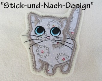 Kitties, set of 2 - machine embroidery applique and fill stitch designs, download for hoop 4x4, 5x7