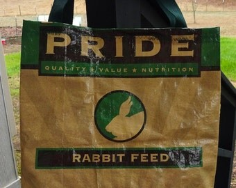 Large Upcycled Feed Bag Tote, Grocery Bag, Charity Tote, Rabbit Lovers, Market Bag, Carry-All, Nylon Web Handles, Machine Washable, Bunny