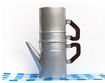 French antique filter coffee pot in aluminium, completed, french country, bakelite handle , red burgundy
