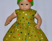 Handmade Green Multi-Color Polka Dots Print Dress and Crocheted Green Hat and Flower Fits American Girl Bitty Baby and Twins