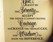 Serenity Prayer decal - God grant me the serenity - Prayer