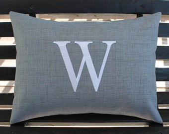 Monogrammed Outdoor Pillow Initial Cover in Graphite Grey | Personalized | Alphabet | Embroidered | Indoor | Wedding
