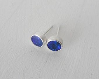 Dark Blue Opal Earrings, Sterling Silver earrings with Stary night Opal doublet, Post Opal Earrings, Blue opal flash, Gift for her