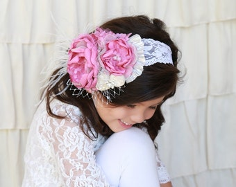 Baby Girl Flower Headband, Girl Headband, Flower GirlHeadband, Wedding Headband, Vintage Flower Headband, Bridal Headband, Hairbow