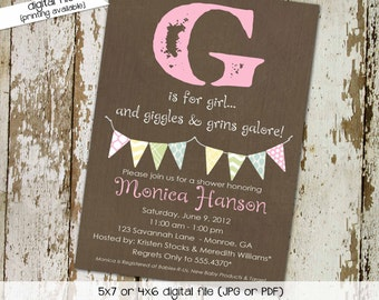baby girl shower invitation g is for girl sprinkle couples coed diaper bring a book birthday baptism (item 1362) shabby chic invitations