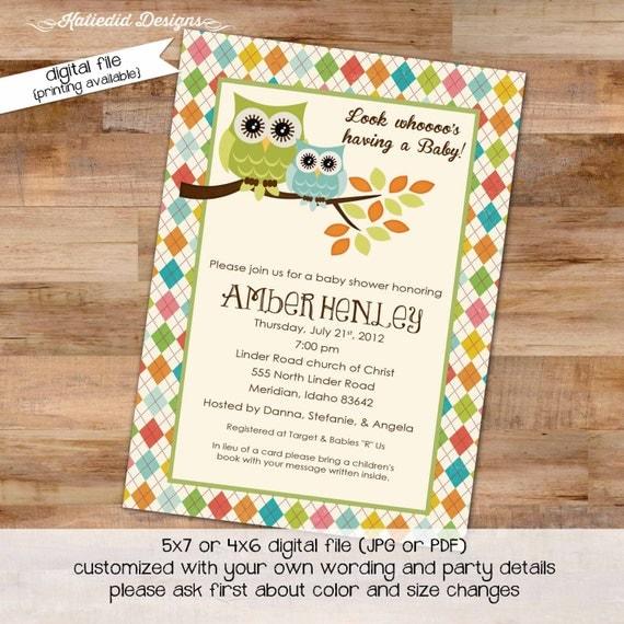 owl baby shower invitation owl first birthday baby boy invite Gender reveal invitation baby sprinkle bash (item 144) shabby chic invitations