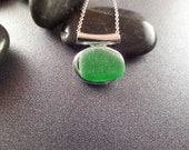 Irish Sea Glass Necklace with Bright Green Bezel Set Beach Glass, Silver Choker, Slider Charm, Stainless Steel Chain, Gift from Ireland