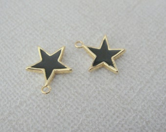 Gold Black Star Pendant, epoxy  Black jet star bead Connectors, Earring Findings, 2 pc , F84713H