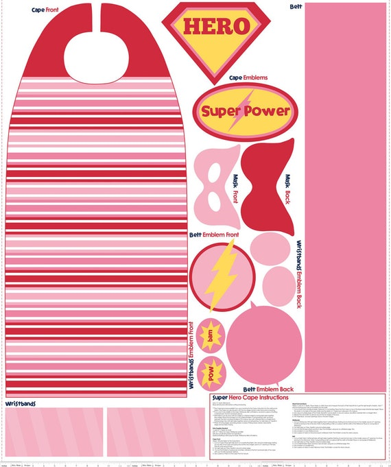 Pink Super Hero Cape and Mask Fabric - Riley Blake - 1 pannel