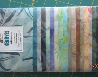 """SALE  Batiks 5"""" x 44/45"""" Strips 20 Pieces Silhouette Gem Fives, Pre Cut Squares"""