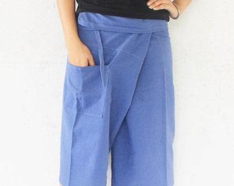 3/4  blue tone Thai fisherman pants  hand weave cotton 1 pocket,size S-XL,unisex pants