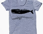 womens whale and skeleton shirt- American Apparel athletic gray track shirt- available in s,m, l, xl -WorldWide Shipping