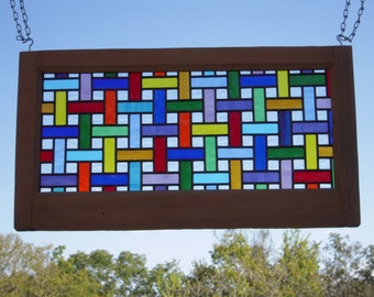 Leaded Stained Glass Basket Weave Panel