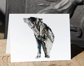 Grey Wolf - Rustic Holiday Nature Card, 100% Recycled Paper - Bark Animal Silhouette Art