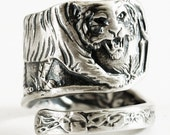 Tiger Ring Sterling Silver Spoon Ring, Asian Tiger, Big Cats, Handmade Ring, Silver Tiger Ring Men, Wild Animal Ring, Personalized Ring Size