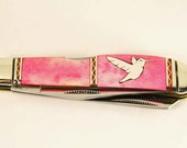 Rough Rider Pink bone pocket knife with Sterling silver humming bird inlay