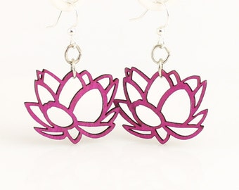 Lotus Blossoms - Wood Earrings