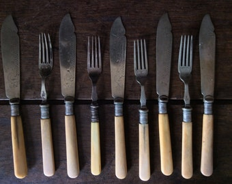 Vintage English 4 Forks 5 Knifes Cutlery Set circa 1920's / English Shop