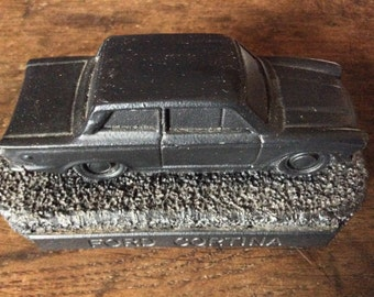 Vintage English British Coal Ford Cortina Car Figurine circa 1970's / English Shop