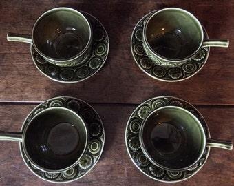 Vintage English Green Stick Ceramic Handled Holder Soup Cups Mugs circa 1950's / English Shop