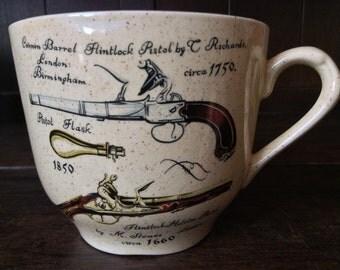 Vintage English Tea Coffee Musket Firearms Cup Mug circa 1970's / English Shop
