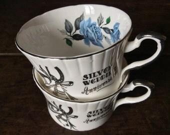 Vintage English Silver Wedding Anniversary English Bone China Tea Cup Mug Set of 2 circa 1970's / English Shop
